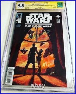 CGC 9.8 SS Star Wars Clone Wars #1 signed Ashley Eckstein & Matt Lanter Ahsoka