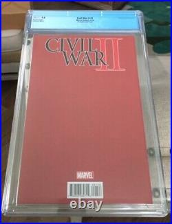 Civil War II #1 Marvel Comics 8/16 Negative Space Tyler Variant Cover CGC 9.8