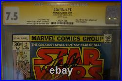 Extremely Rare! Star Wars #1 & #2 1977 both CGC Gold and signed by Stan Lee