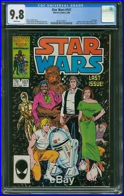 Marvel Comics STAR WARS # 107 CGC 9.8 NEAR MINT/M White Pages The Last Issue