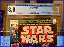 Marvel Star Wars 1 CGC 8.0 White Pages 1977 1st Luke Skywalker Darth Vader Leia