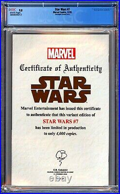 Marvel Star Wars #7 Cgc 9.8 Nycc Christopher Negative Space Virgin Variant 4000