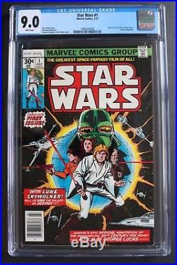 STAR WARS #1 1st Print Luke Leia Darth Vader Marvel comic 1977 Pre-Film CGC 9.0
