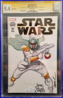 STAR WARS #1 (2015) Boba Fett Sketch Cover / CGC 9.4 / Ryan Stegman / Jeff Balke