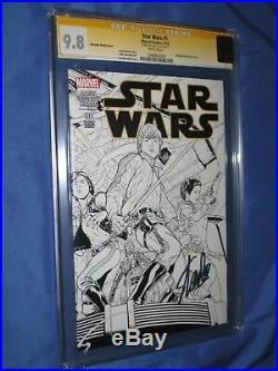 STAR WARS #1 CGC 9.8 SS Signed Stan Lee (Marvel/Joe Quesada B&W Variant) 1500