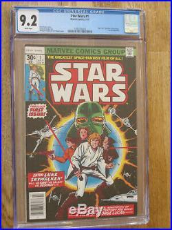 STAR WARS # 1 US MARVEL 1977 1st STAR WARS COMIC ever CHAYKIN NM 9.2 CGC WHITE