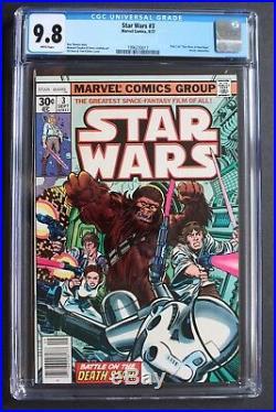STAR WARS #3 1st Print Marvel 1977 1st CHEWBACCA-c Battle on Death Star CGC 9.8