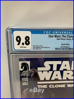 STAR WARS CLONE WARS #1 DH100 Variant CGC White Pages 9.8 Filoni Cover Dark
