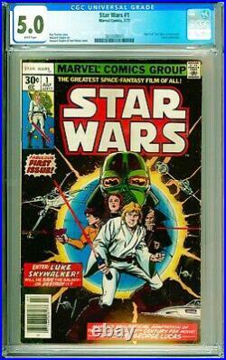 Star Wars #1 1977 Marvel 1st Luke Skywalker, Leia, Kenobi, Vader, Empire CGC 5.0