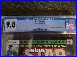 Star Wars #1 1977 Marvel Comic CGC 9.0 White Pages NM A New Hope