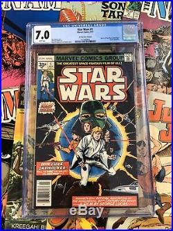 Star Wars #1 CGC 7.0 F/VF marvel comics 1977 35 CENT VARIANT roy thomas bronze