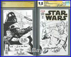 Star Wars 1 CGC 9.8 SS blank L. Kirk sketch signed Stan Lee, Mark Hamil, Prowse