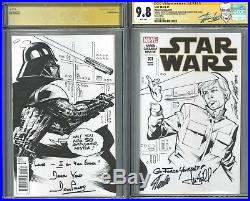 Star Wars #1 CGC 9.8 SS blank sketch Leonard Kirk signed Stan Lee, Hamil, Prowse