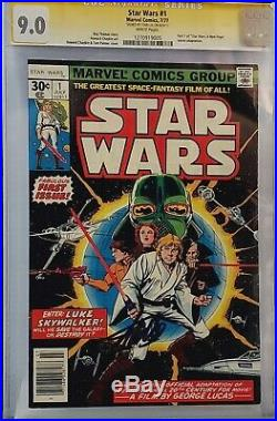 Star Wars #1 Cgc 9.0 Ss Signed Stan Lee White Pages 1977 Original