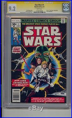 Star Wars #1 Cgc 9.2 Ss White Pages Signed Stan Lee A New Hope 1977 Movie