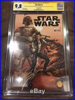 Star Wars #1 Cgc 9.8 Signed & Rare Quote By J Scott Campbell Cargo Hold Variant