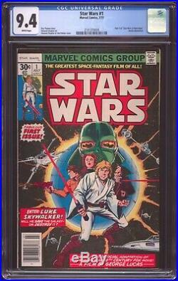 Star Wars # 1 Cgc-graded 9.4 Near Mint July 1977 Newsstand Variant
