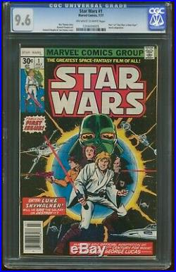 Star Wars 1 JULY 1977 CGC 9.6 NEAR MINT+ 1st Print MARVEL Luke Leia Vader G-201