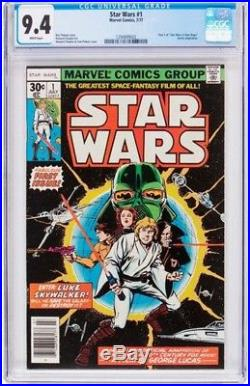Star Wars #1 (Marvel, 1977) CGC NM 9.4 White pages. Part one of the six-issue