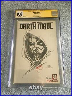 Star Wars Darth Maul #1 Aspen BW Variant Signed Ray Park CGC 9.8